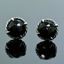 David Yurman Chatelaine 925 Sterling Silver 8MM Black Onyx Cable Stud Earrings