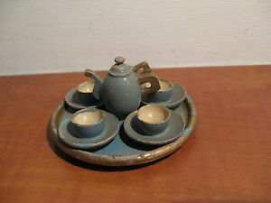 Antique French mini wooden service...c 1900! Teapot, milkpot, 4 cup and saucers!