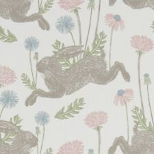 CLARKE and CLARKE(STUDIO G) 100% COTTON CURTAIN FABRIC/CRAFT MARCH HARE Pastel