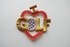 #3394 I LOVE GOLF,RED HEART Embroidery Iron On Applique Patch