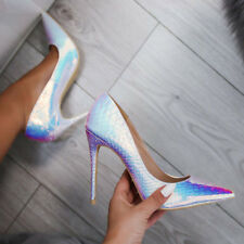 Ladies High Heels Sandals Point Toe Mermaid Holographic Iridescent Shoes Size