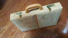 Vtg Cork Briefcase-tan-Hard Case-Pockets-Combo Lock-Attache-Blonde-Spain new