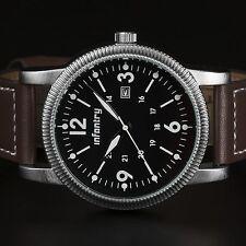 INFANTRY Mens Quartz Wrist Watch Lume Date Police Design Army Fashion Leather