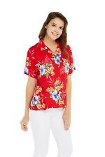 Women Ladies Aloha Shirt in Hibiscus Red