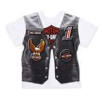 Harley Davidson Boy White T-Shirt Print Of Black Vest On The Front 2-7 Years Old