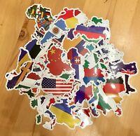50 Länder Fahnen Konturen Aufkleber / Sticker Welt Europa Afrika Bike Koffer car