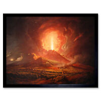 Wright Derby Volcano Vesuvius Portici Eruption Painting Art Print Framed 12x16