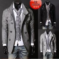 Men's Wool Double Breasted Overcoat Trench Long Coat Jacket Outwear