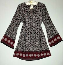 2 HEARTS Shift dress M Long bell Sleeves Symmetrical Floral Multicolored Casual