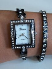 Women's Rhinestone Wrap Around Gun Metal Finish Bracelet Long Band Fashion Watch