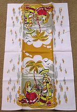 Vintage Kitchen Tea Towel Mexican Theme Man Woman Flowers Pottery Red Ylw