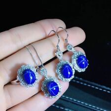 Certified Natural Starlight Sapphire 925 Sterling Silver Pendant Earrings Ring