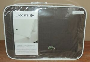 NEW LACOSTE ALLIGATOR KING 100% COTTON PERCALE SOLID SHEET SET DARK GRAY $134