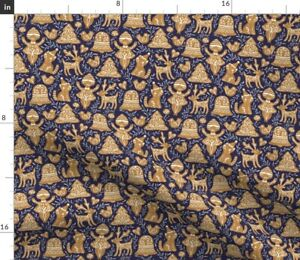 Gingerbread Blue Christmas Cookies Cat Holiday Spoonflower Fabric by the Yard