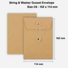 More details for c6 size quality string and washer envelopes button tie brown manilla cheap