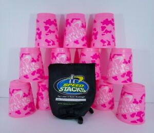 WSSA Official Speed Stacks Cups 12 Pink Camo Stackers W/ Netted Case