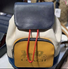 Coach Jes Colorblock Leather Backpack Horse & Carriage Chalk 1900