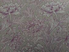 William Morris Curtain Fabric 'Chrysanthemum Toile' 3.7 METRES 370cm Wine/Linen