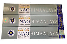 Golden Vijayshree Nag Champa HIMALAYA Incense Sticks 15g High Quality x 3 Boxes