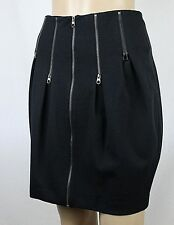 Ted Baker London Mini Skirt Black Size 2 Tulip Style Zip Embellishments