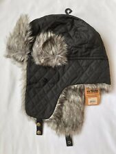 Urban Pipeline Men's Black Quilted Trapper Hat - Faux Fur Trimmed - NEW