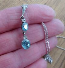 Art Deco  2.75 Carat Blue Zircon Diamond Pendant 9ct White Gold Necklace Boxed