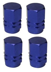 Blue Hexagonal High Quality Metal Metallic Dust Caps Pack of 4 Caps