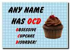 Funny Obsessive Disorder Cupcake Blue Personalised Jumbo Magnet