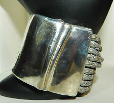 Modern Art Bracelet Marked Israel  Silver Magnetic With Silver Painted Leather