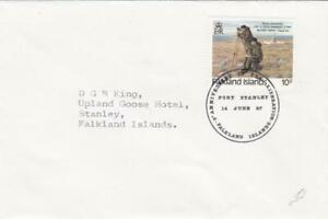 FALKLAND ISLANDS 1987 ANNIVERSARY LIBERATION COVER UPLAND GOOSE CACHET ON REVERS