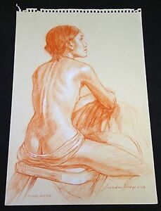 "Hawaii Conte Drawing Painting Seated Nude ""Toni Rose"" by Snowden Hodges (Sho)"