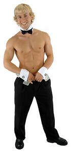 ADULT MALE DANCE STRIPPER CUFF COLLAR WITH BLACK BOW TIE COSTUME SET EL410531