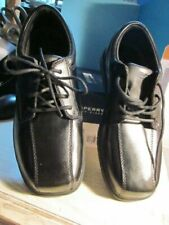Nib Sperry Top Sider Nathaniel Oxford Shoes Boys Black Sz 3.5 Leather Lace Up