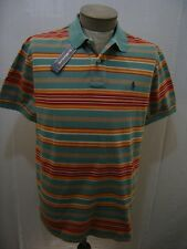 Polo Ralph Lauren L Stripe Mesh Rugby Shirt Mens Green Orange White Navy Pony SS