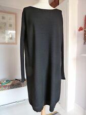 COS BLACK 100% WOOL RIBBED JUMPER DRESS - Size EUR  L