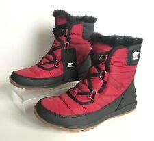 NIB SOREL Whitney Short Lace Red Element Fur Lined Boots Women's Sz 6 Medium