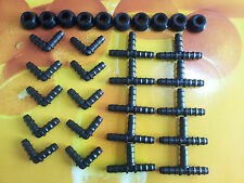 """New listing Connector Tees/Elebows For 12mm Od Tube+1/2"""" Silicone Rubber Grommets-10 Sets"""