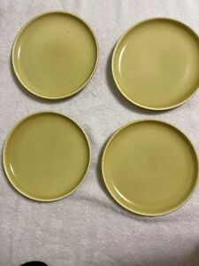 """4 Vintage Russel Wright Steubenville Bread Butter Plates 6"""" Dish Chartreuse"""