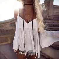 Mujer Hombro Descubierto Manga Larga Holgado Blusa Suéter Blanco Verano Camiseta