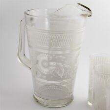 VINTAGE KITCHENWARE WHITE ENAMEL DESIGN GLASS PITCHER WITH ICE LIP + 5 TUMBLERS