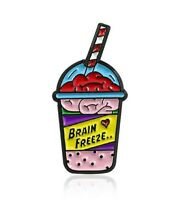 Brain Frozen Drink Enamel Lapel Pin Catoon Funny Brooch Badge for Backpack Bags