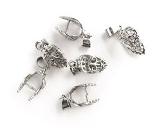 Antique Silver Plated 22mm Filigree Leaf Pinch Bail Findings Q6 65350