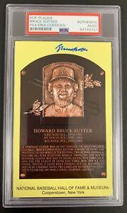 Bruce Sutter Signed Gold HOF Plaque Postcard Yellow Chi Cubs Autograph PSA/DNA