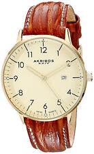 Reloj Akribos Watch Man Gold Oro Leather Strap Crystal Hand Hombre Arm Case Band
