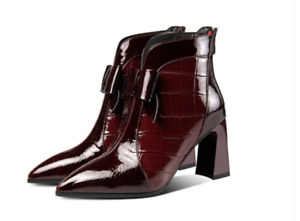 Cowhide Patent Leather Women Shoes Ankle Boots Horseshoe Heel Bow Custom Large