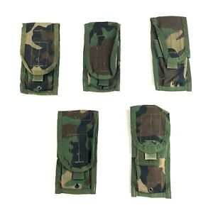 5 Woodland Double Mag Pouch Army MOLLE BDU Camo USGI Military Pouches 2 Magazine