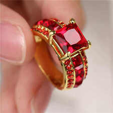 Woman's Size 7 Red Ruby 18KT yellow Gold Filled Ring For Wedding Engagement