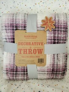 "NWT Berkshire Decorative Throw Blanket 60""x80"" Purple Plaid"