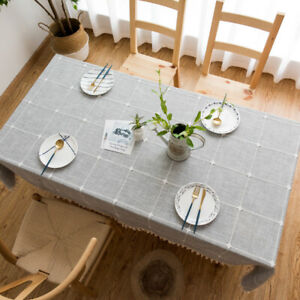 Checkered Embroidery Solid Cotton Linen Tablecloth Rectangle Square Table Covers