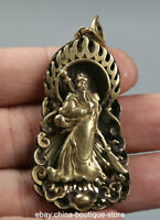 59MM Small Curio Chinese Bronze Guan Gong Yu Warrior God Amulet Wealth Pendant